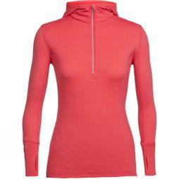Icebreaker Womens Rush Long Sleeve Half Zip Hood Poppy Red
