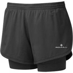 Ronhill Women's Stride Twin Short Black/Charcoal Marl