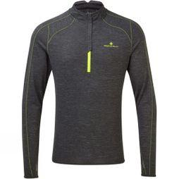 Ronhill Mens Stride Thermal 1/2 Zip Tee Charcoal marl/Fluo Yellow
