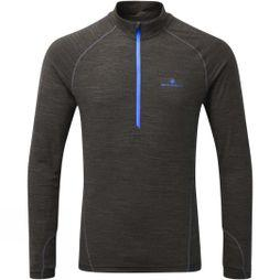 Ronhill Men's Stride Thermal Long Sleeve Zip Tee Charcoal/Azurite