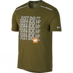 Nike Mens Breathe Rise 365 Running Top Olive/Metallic Silver