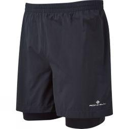 Ronhill Mens Stride Twin 5in Short All Black