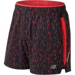 New Balance Mens Printed Impact 5in Short Flame