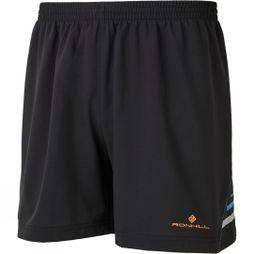 "Ronhill Mens Stride 5"" Shorts Black/Cardinal Orange"