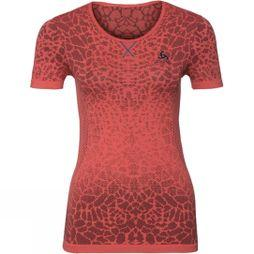 Odlo Womens BL Top Crew Neck Blackcomb Light  Red Marl/Orange Marl