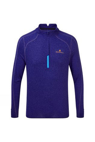 Ronhill Mens Stride Thermal 1/2 Zip Tee Deep Sea Marl/Cardinal Orange