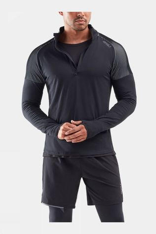 2XU Men's GHST 1/2 Zip Long Sleeve Top Black/White