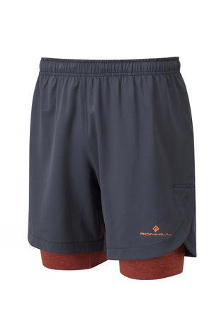 "Ronhill Men's Life 7"" Twin Short Charcoal/Brick Marl"
