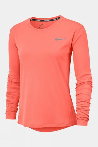 Nike Womens Miler Long Sleeve Top Bright Mango