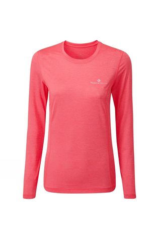 Ronhill Womens Tech L/S Tee Hot Pink Marl/Chambray