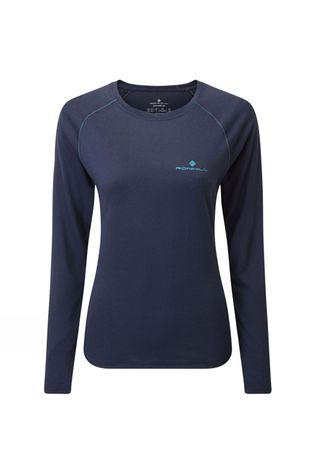 Ronhill Womens Core L/S Tee Deep Navy Marl/Spa Green