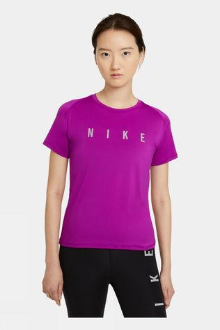 Nike Women's Run Division Miler Short Sleeve Top Red Plum