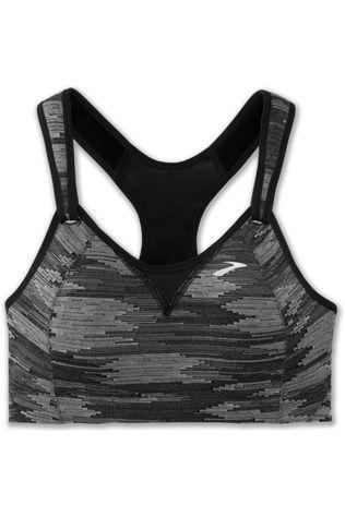 Brooks Womens Rebound Racer Sports Bra Black Jaquard