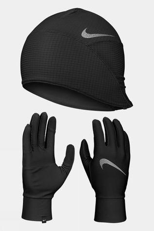 Nike Mens Essential Running Hat And Glove Set Black/Black/Silver
