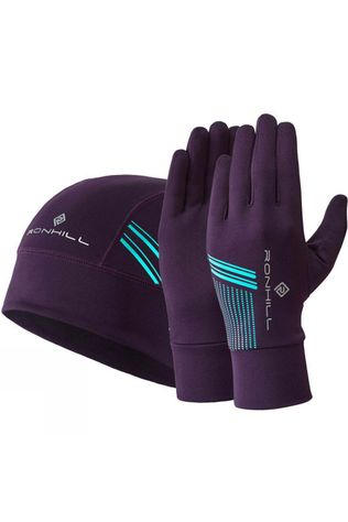 Ronhill Unisex Beanie and Glove Set Blackberry/Aquamint