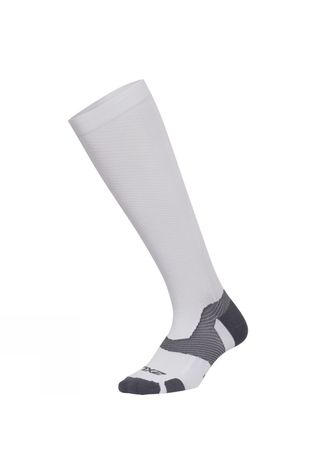 2XU Unisex Vector Light Cushion Knee High Socks White/Grey