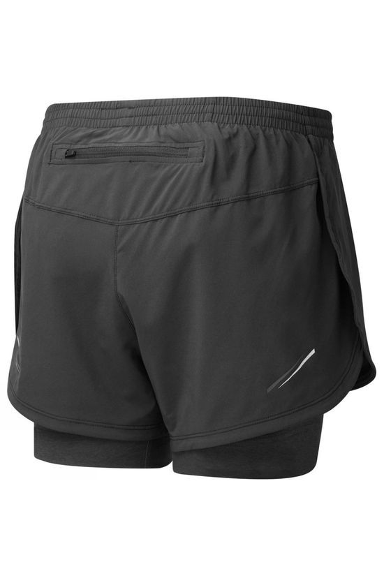 Ronhill Womens Stride Twin Short Black/Charcoal Marl