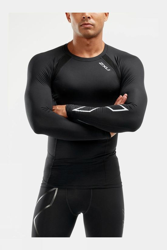 2XU Men's Compression Long Sleeve Top Black/Silver X