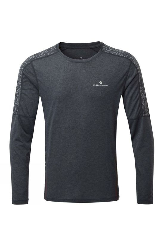 Ronhill Men's Life Night Runner L/S Tee Charcoal/Reflect