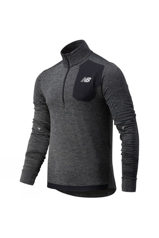 New Balance Mens Run Grid Back Half Zip Dark Heather
