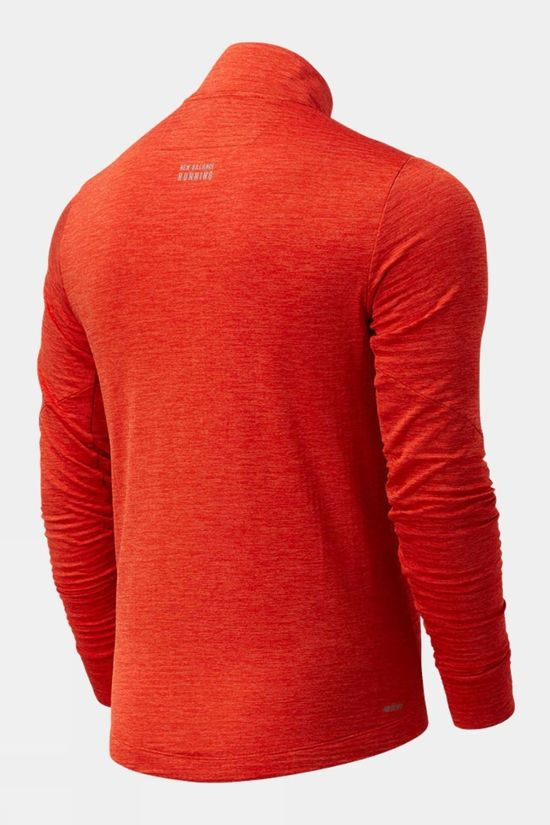 New Balance Mens Run Grid Back Half Zip Dark Blaze