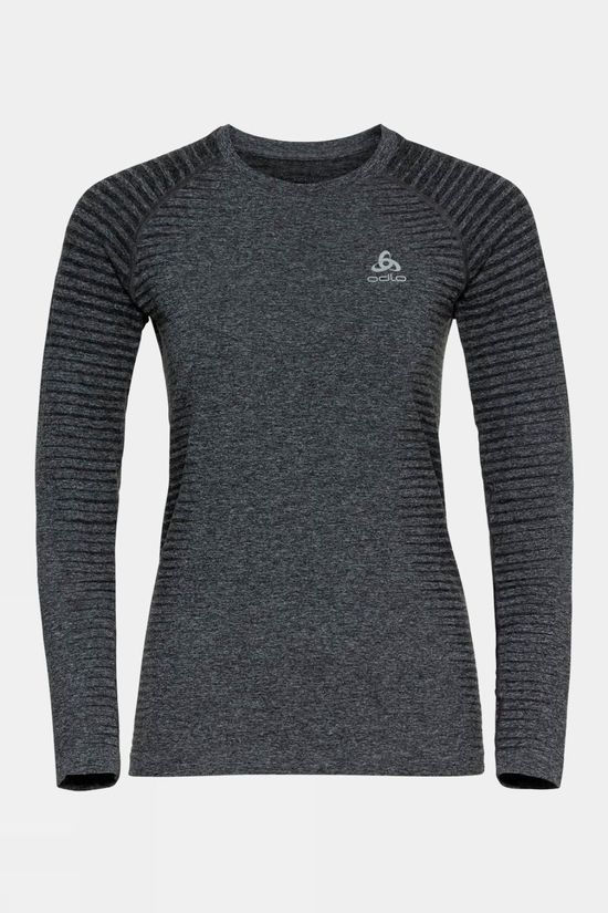 Odlo Womens Essential Seamless Long-Sleeve T-Shirt Grey Melange