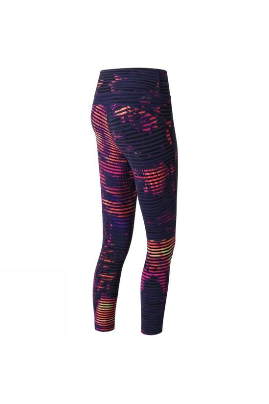 New Balance Womens Premium Performance ¾ Crop Print Tights Striped Velocity