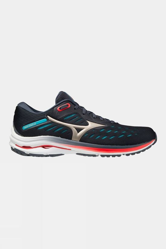 Mizuno Men's Wave Rider 24 India Ink / Platinum Gold / Scuba Blue