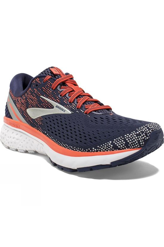 Brooks Womens Ghost 11 Navy/Coral/Grey