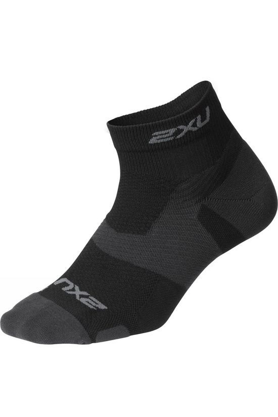 2XU Vectr Light Cushion 1/4 Crew Sock Black/Grey