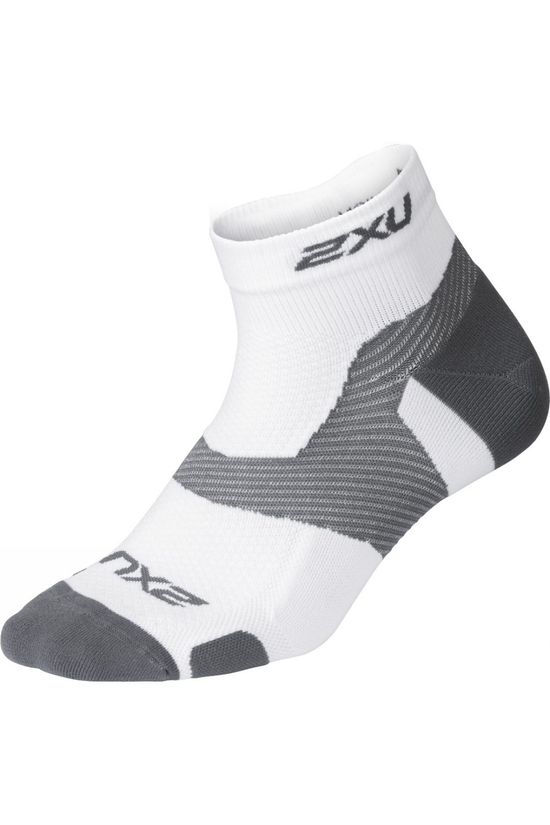 2XU Vectr Light Cushion 1/4 Crew Sock White/Grey