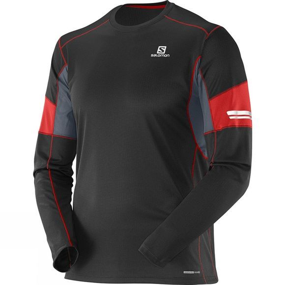 Salomon Mens Agile Long Sleeve Tee Black/Matador-X/Dark Cloud