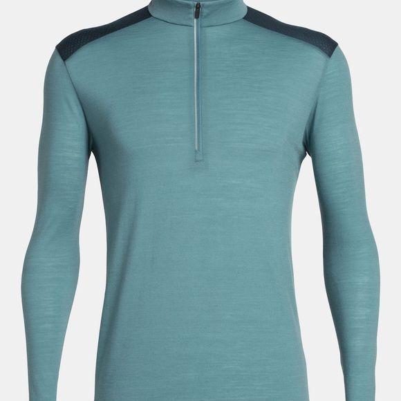 Icebreaker Mens Amplify LS Half Zip Blue Spruce/Nightfall