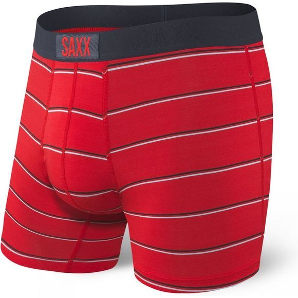 Saxx Mens Vibe Boxer Modern Fit Red Shallow Stripe