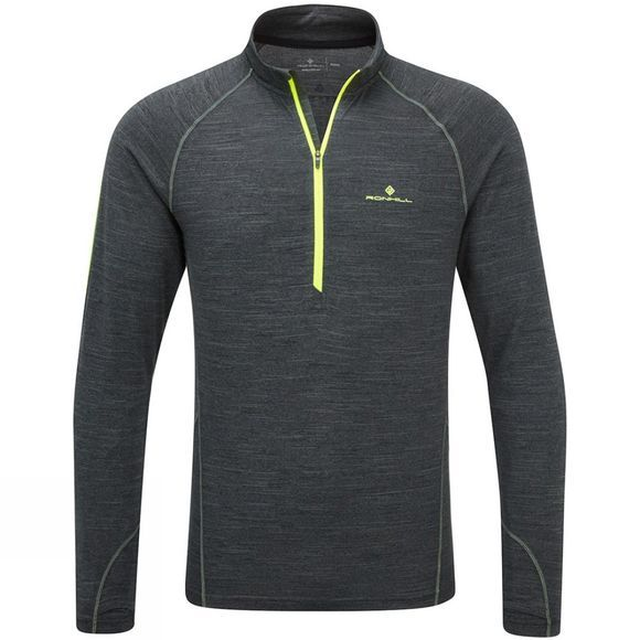 Ronhill Men's Stride Thermal Long Sleeve Zip Tee Charcoal Marl/Fluo Yellow