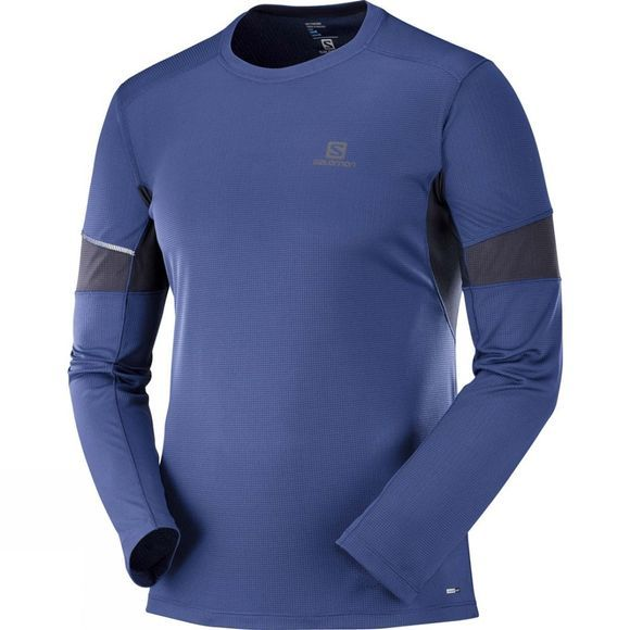 Salomon Mens Agile Long Sleeve T-Shirt Medieval Blue