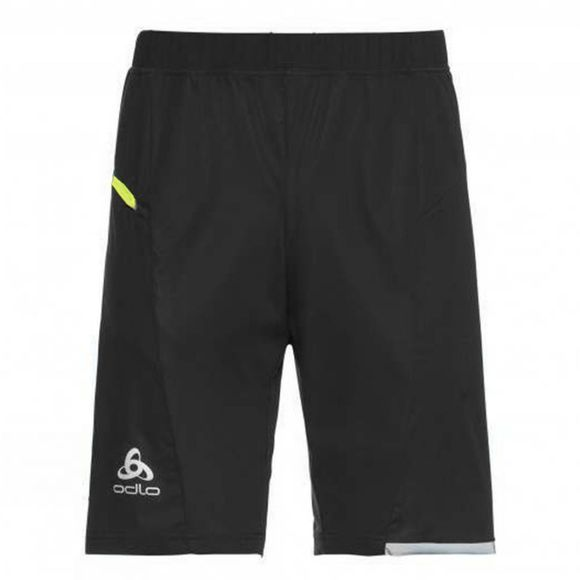 Odlo Mens Zeroweight Shorts Black-Safety Yellow