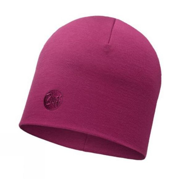 Buff Merino Wool Thermal Hat Pink Cerise