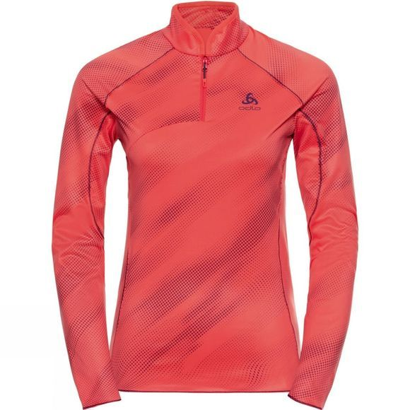 Odlo Womens Prochute Half Zip Hot Coral - Pickled Beet