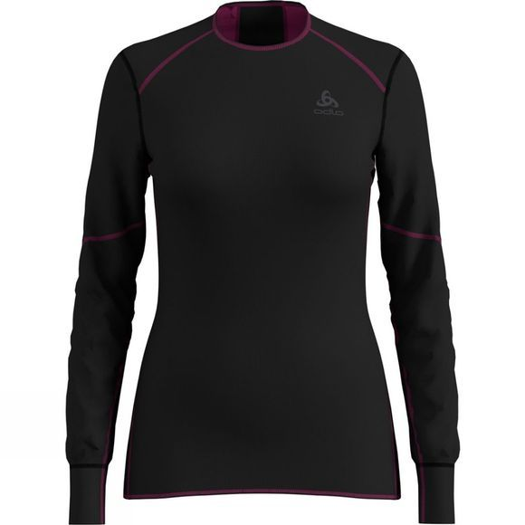 Odlo Womens X-Warm Shirt Long-Sleeve Crew Neck Black - Frame Pink