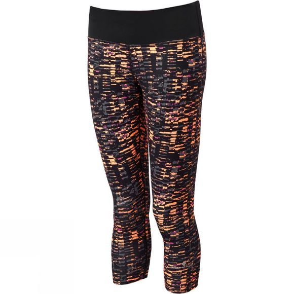 Ronhill Womens Momentum Crop Tights Neon Peach Sponge Art