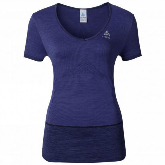 Odlo Womens Seamless Kamilero Short Sleeve Crew Neck Shirt Blue Radiance Melange