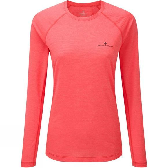Ronhill Womens Momentum Long Sleeve Tee Hot Pink Marl/Charcoal