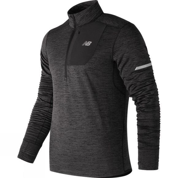 New Balance Mens Heat Quarter Zip Top Heather Charcoal