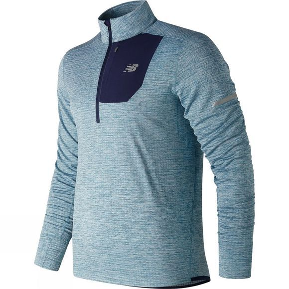 New Balance Mens Heat Quarter Zip Top Blue Fog