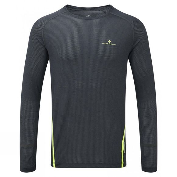 Ronhill Mens Stride Long Sleeve Tee Charcoal Marl/Fluo Yellow
