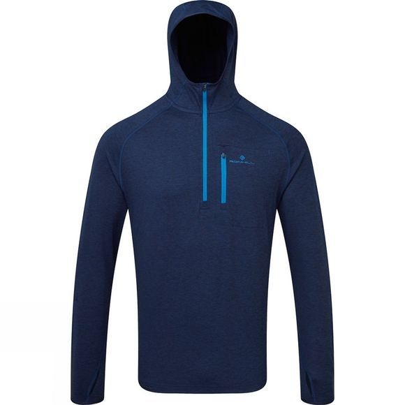 Ronhill Mens Ronhill Momentum Workout Hoodie Midnight Blue Marl/Azurite