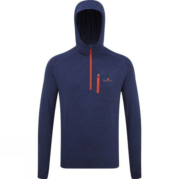Ronhill Mens Ronhill Momentum Workout Hoodie MidBlMarl/Lava