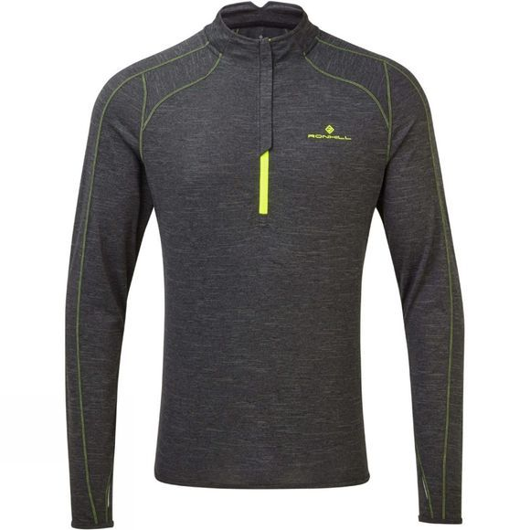 Ronhill Men's Stride Thermal 1/2 Zip Tee Charcoal marl/Fluo Yellow