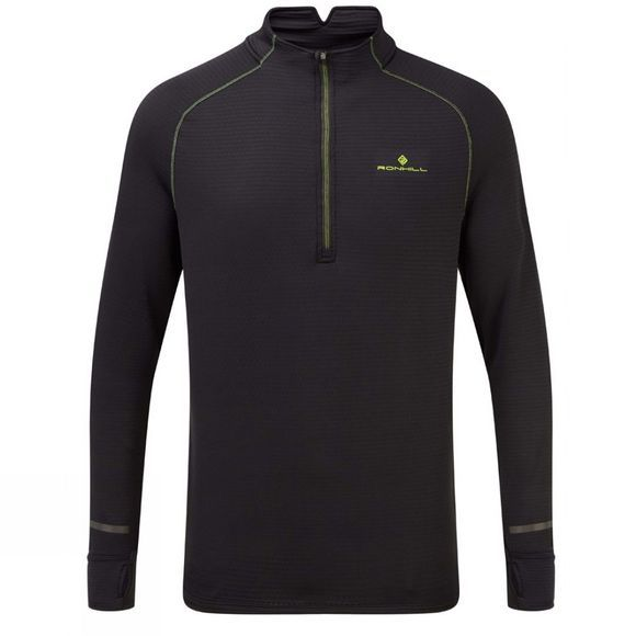 Ronhill Men's Tech Matrix 1/2 Zip Tee Black/Fluo Yellow